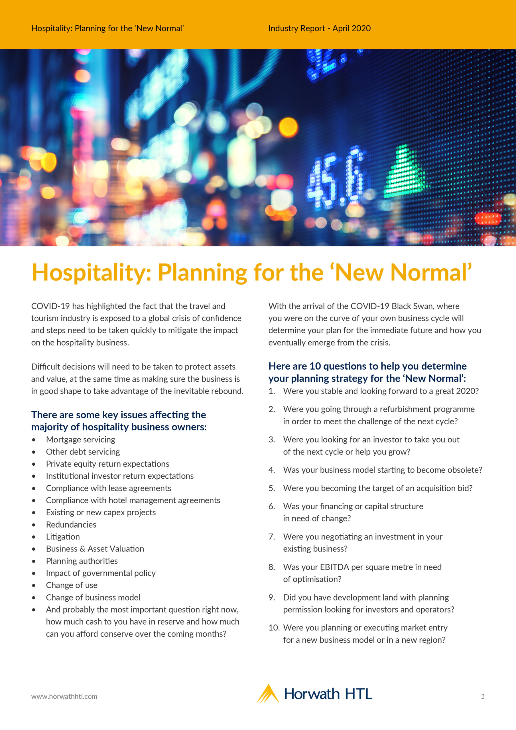 Industry Report: Hospitality – Planning for the 'New Normal'